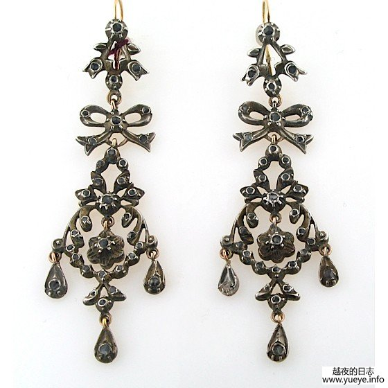 SILVER AND ROSE CUT DIAMOND EARRINGS