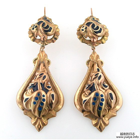 ITALIAN GOLD AND ENAMEL EARRINGS