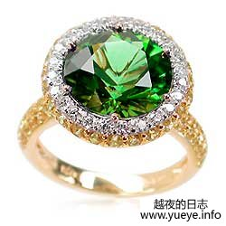 Green Tourmaline, Yellow Sapphire, and Diamond Ring
