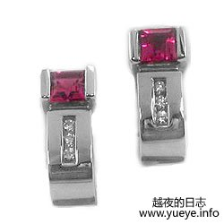 Pink Tourmaline Huggie Earrings by Breuning